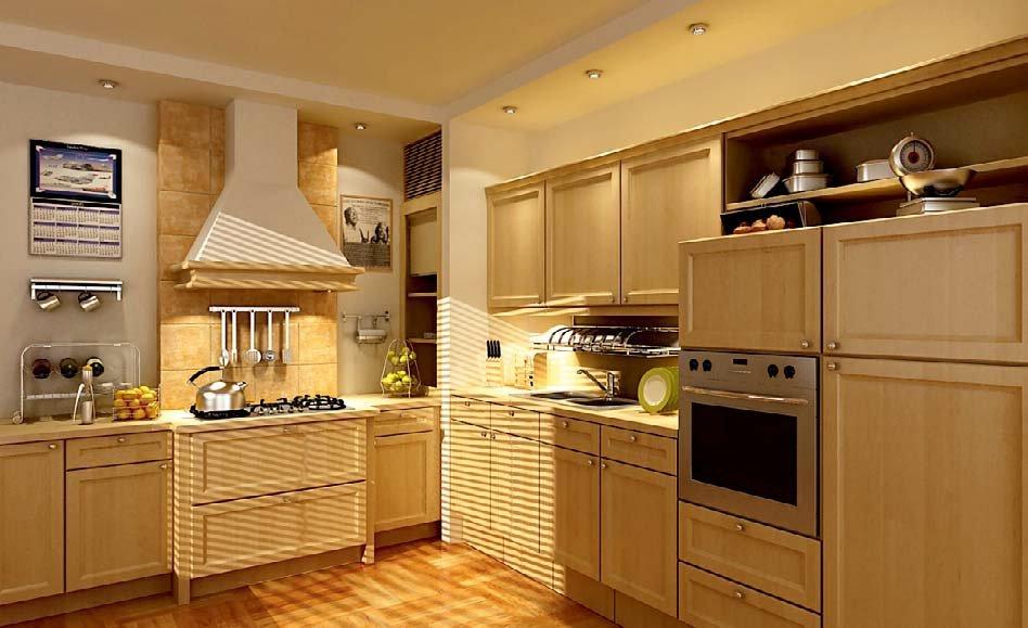 رندر آشپزخانه چوبی مدرن