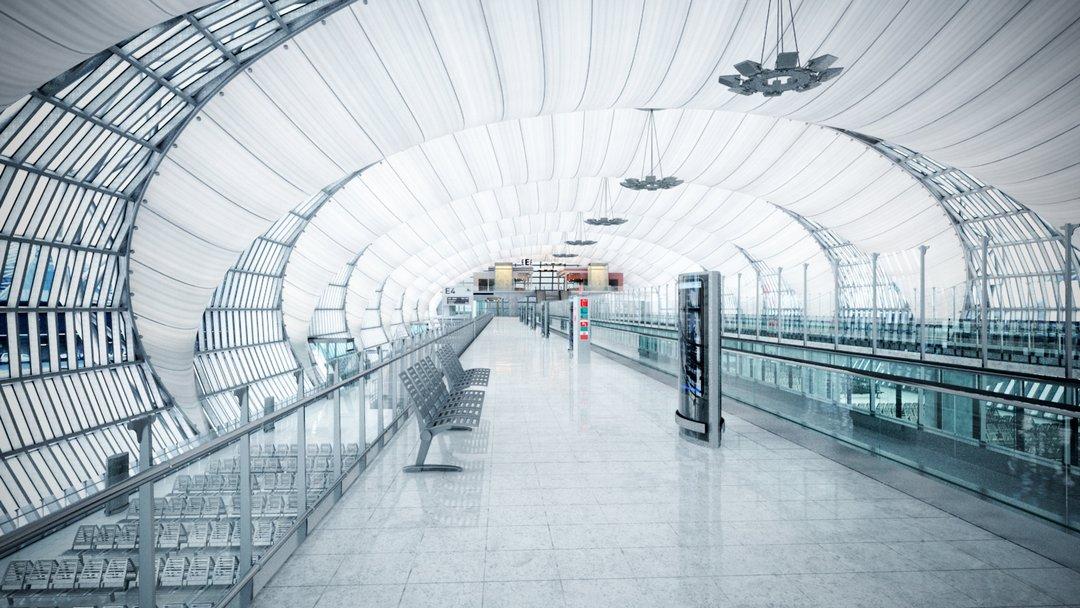 رندر فرودگاه ایستگاه قطار