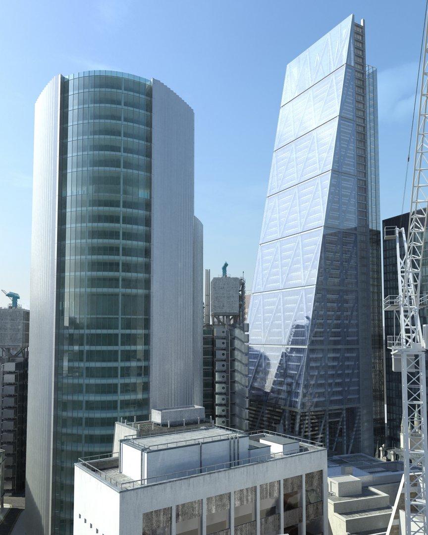 رندر لندن برج آسمان خراش جرثقیل