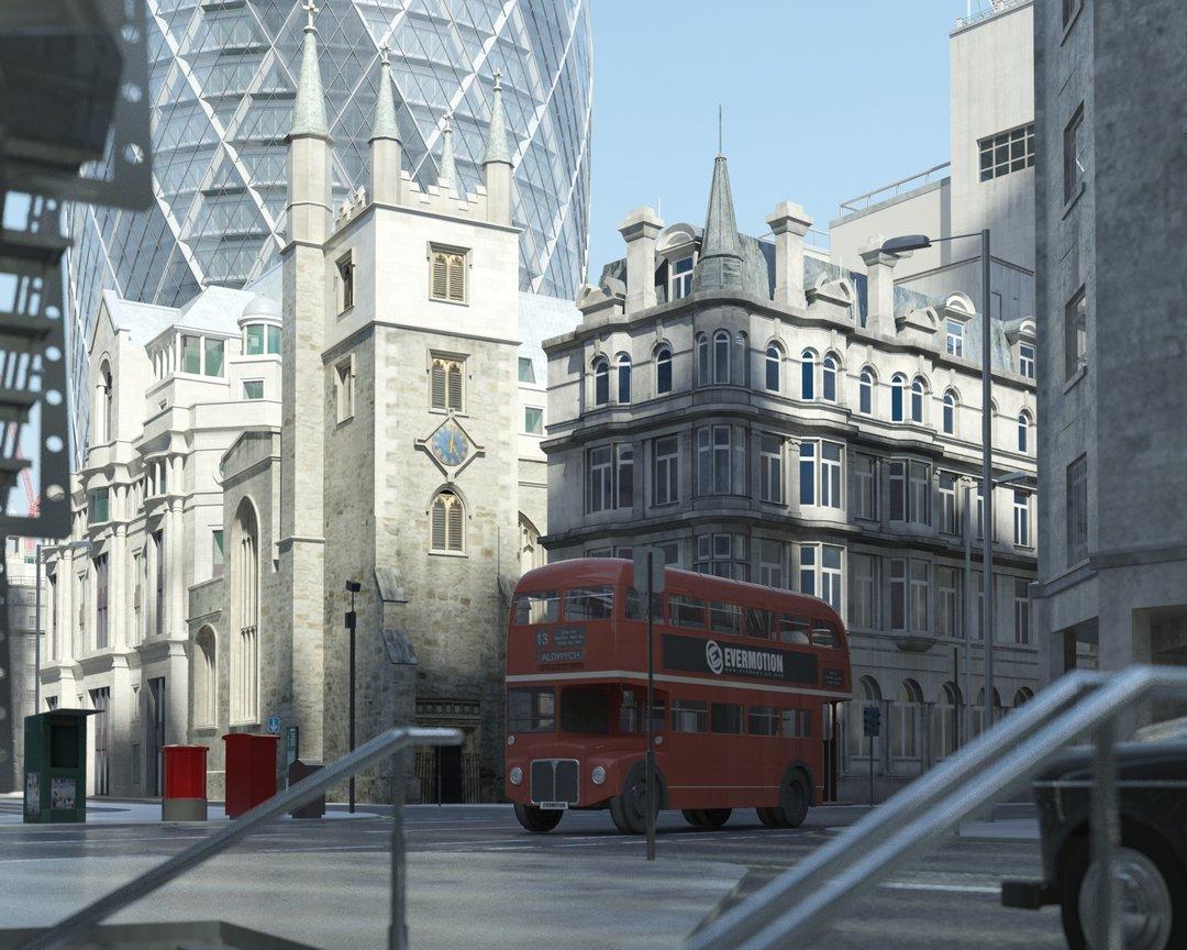 رندر شهر لندن ساختمان بلند شیشه ای