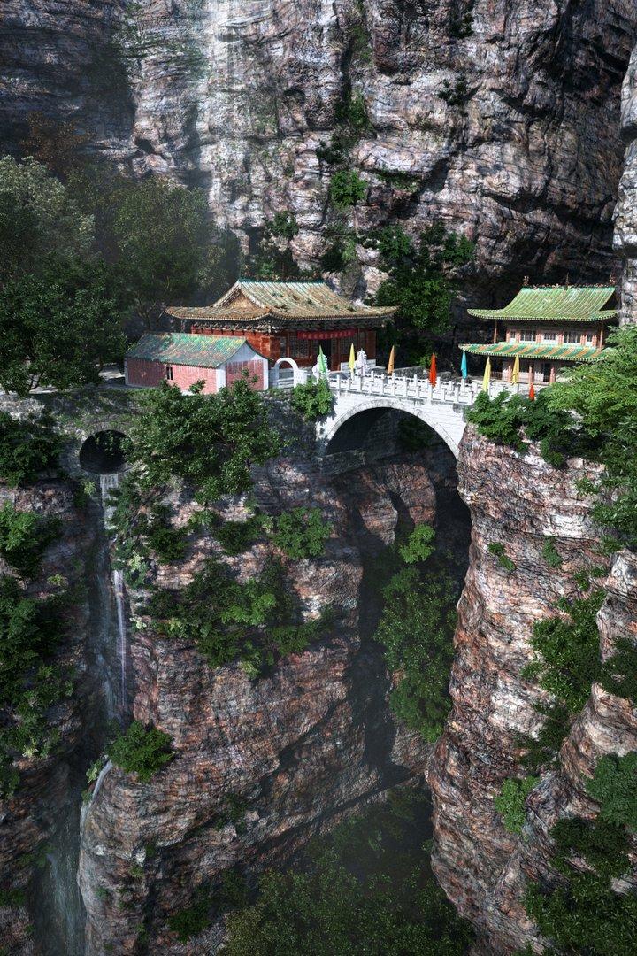 رندر معبد چینی