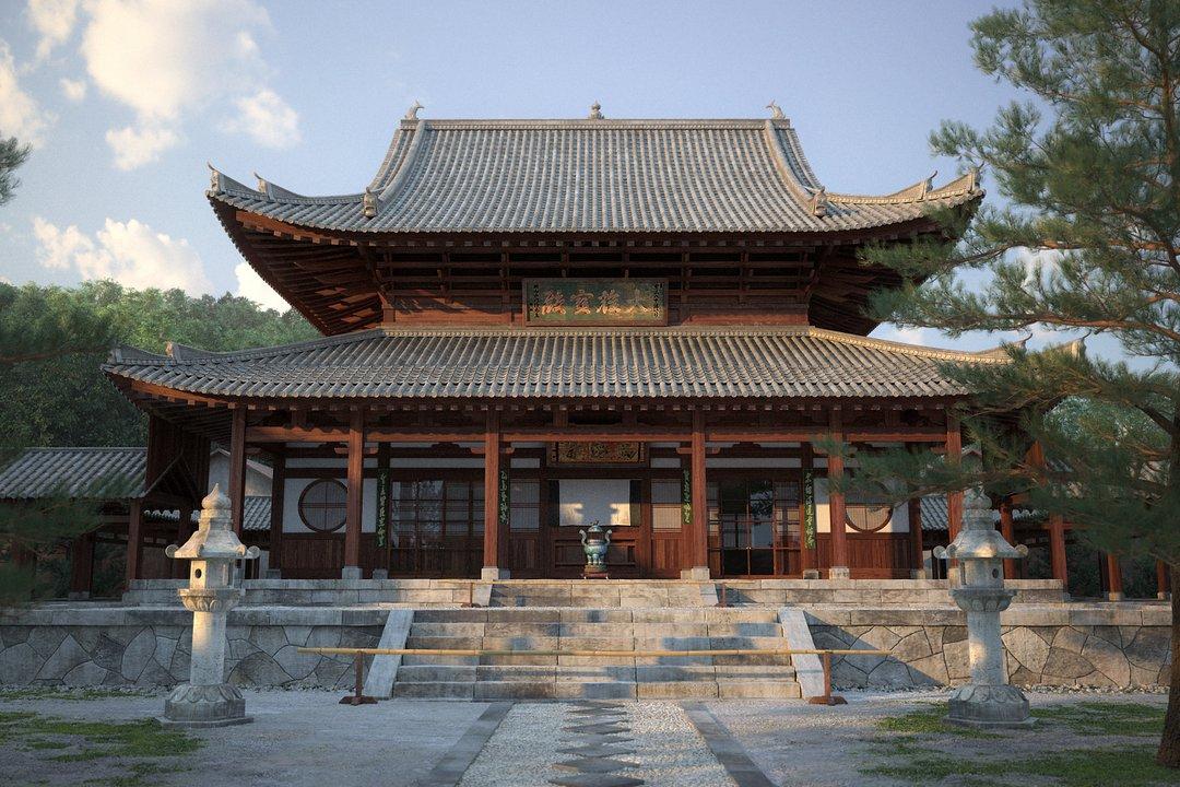 رندر معبد چین