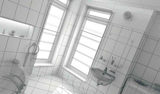 صحنه دستشویی حمام روشویی آیینه حوله وان مدل آماده رندر
