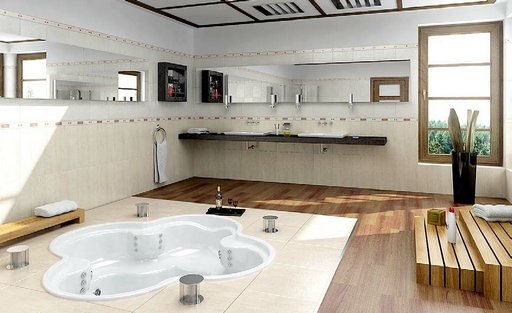 صحنه حمام دستشویی وان روشویی آیینه حوله شامو مدل آماده رندر