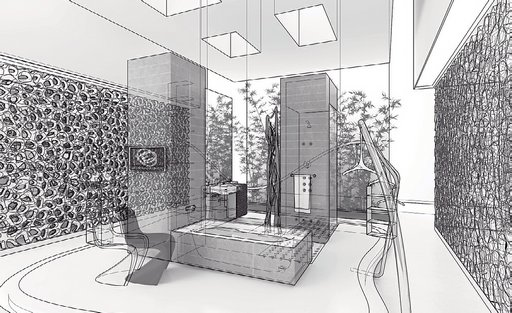 صحنه دستشویی حمام فانتزی مدرن وان مدل آماده رندر