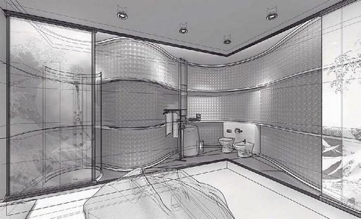 صحنه دستشویی حمام فانتزی مدرن دستشویی فرنگی بیده حوله وان مدل آماده رندر