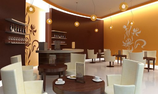 صحنه رستوران کافی شاپ مدرن پاریس بار کاپوچینو کافی میکر مدل آماده رندر