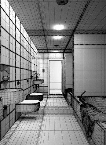 صحنه آشپزخانه حمام روشویی حوله آینه قدی توالت فرنگی مدل آماده رندر
