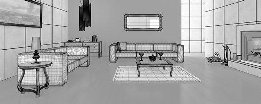 صحنه اتاق نشیمن شومینه مبل ساده سفید شگی فرش لوستر هیزم قاب عکس مدل آماده رندر