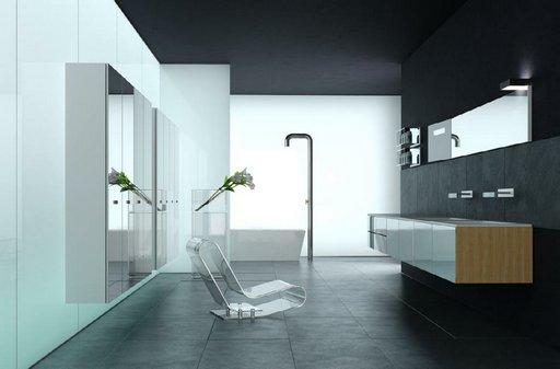صحنه دستشویی حمام وان فانتزی روشویی آیینه مدل آماده رندر