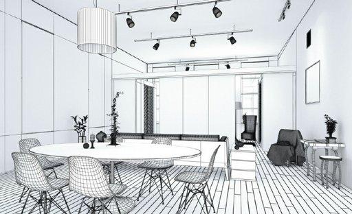 صحنه اتاق نشیمن میز صندلی غذاخوری لوستر مبل کف پارکت مدل آماده رندر