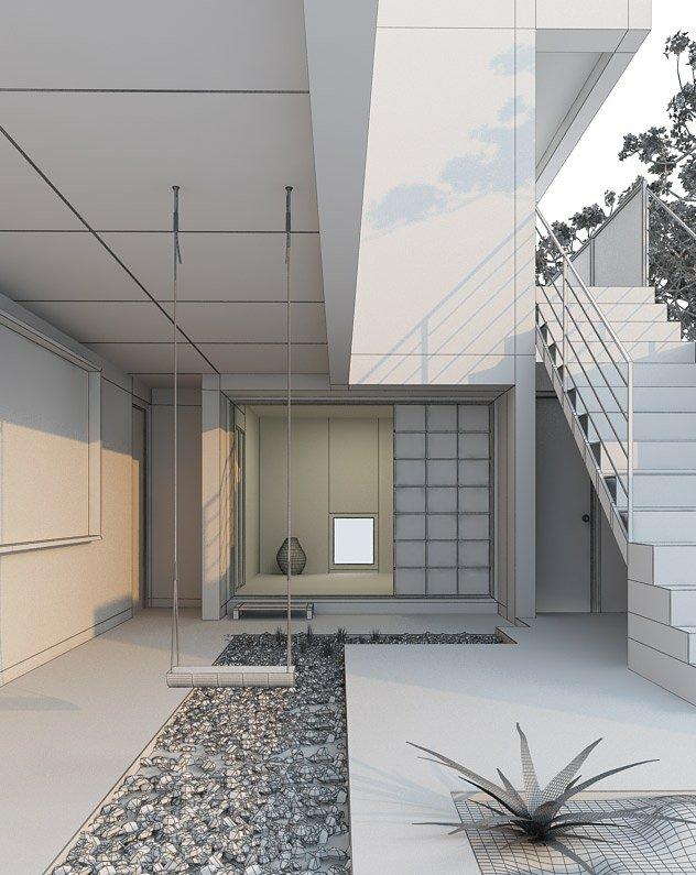 مدل حیاط خانه نودوپنج صحنه منزل خانه حیاط باغچه تاب سنگریزه پله فلزی مدل آماده رندر