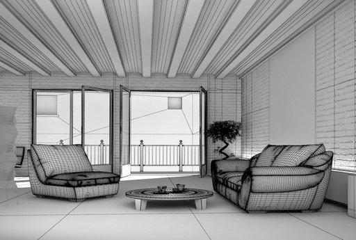 صحنه اتاق پذیرایی نشیمن آجری سقف تیر چوبی تراس بالکن مبل راحتی مدل آماده رندر