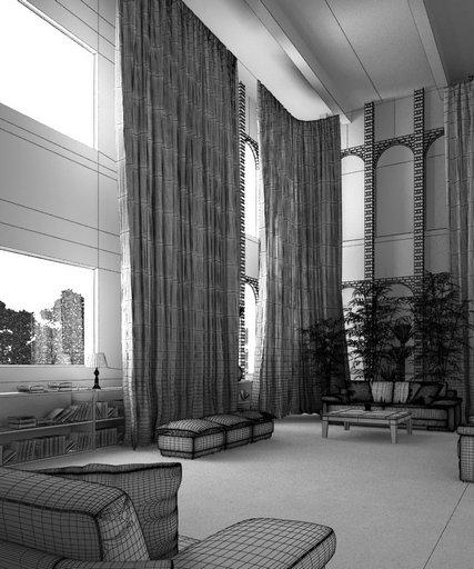 صحنه خانه کامل پذیرایی گلدان مبل کتابخانه پرده توری سقف بلند آجری مدل آماده رندر