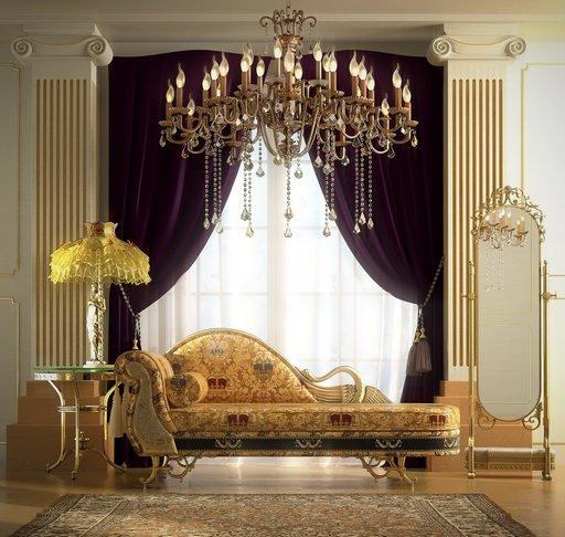 صحنه اتاق نشیمن مجلل هتل موزه مبل تک استیل کلاسیک لوستر آباژور آینه پرده ستون کار شده فرش ایرانی مدل آماده رندر