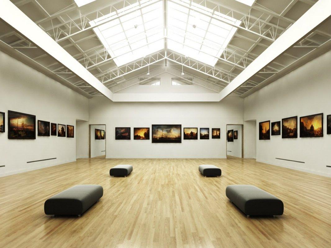 D Max Exhibition Hall : صحنه فضای عمومی گالری تابلو عکس سقف شیروانی آماده رندر