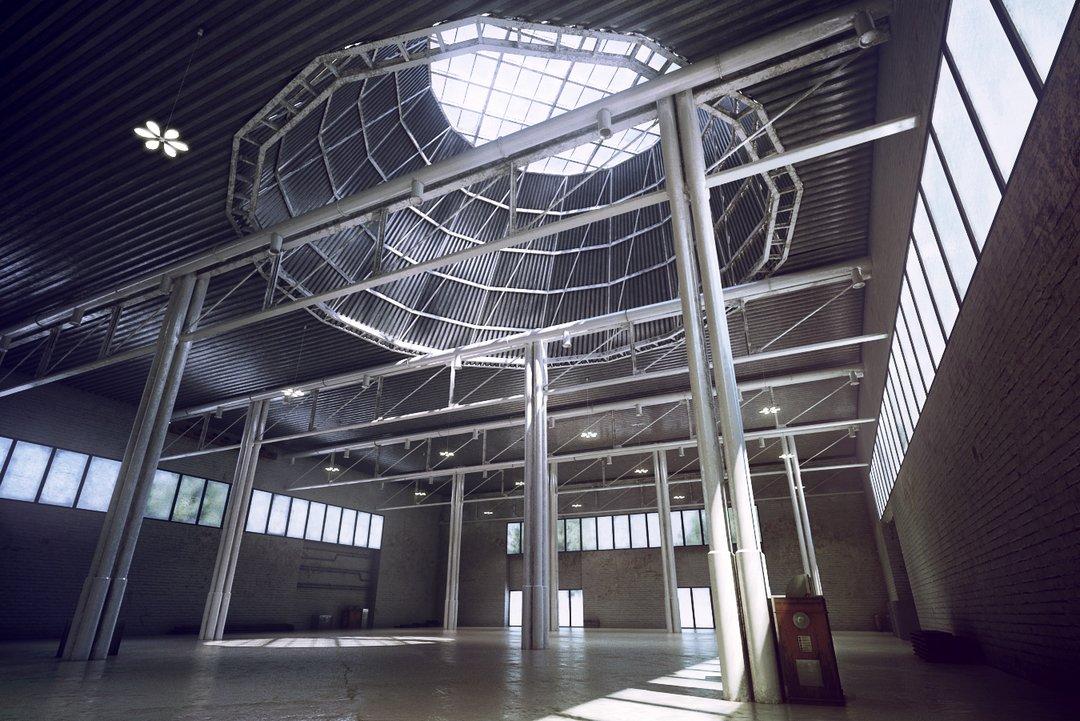 صحنه سوله مسقف سقف گنبد شیشه دیوار آجر سیمان بتون آماده رندرصحنه سوله مسقف سقف گنبد شیشه ای دیوار آجر کف سیمانی بتون مدل آماده رندر