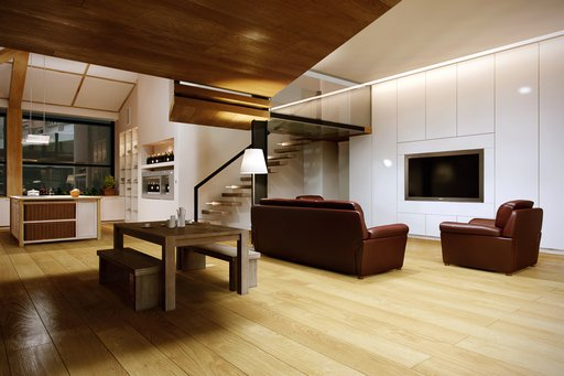 صحنه خانه کامل منزل کف چوب پارکت نشیمن پذیرایی شومینه سقف شیروانی مبل تلویزیون آشپزخانه لوستر مدل آماده رندر