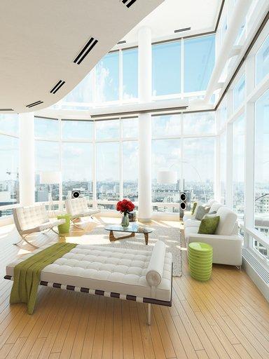 صحنه خانه کامل دوبلکس فرش چرم گاو نشیمن مبل شومینه مدرن مدل آماده رندر