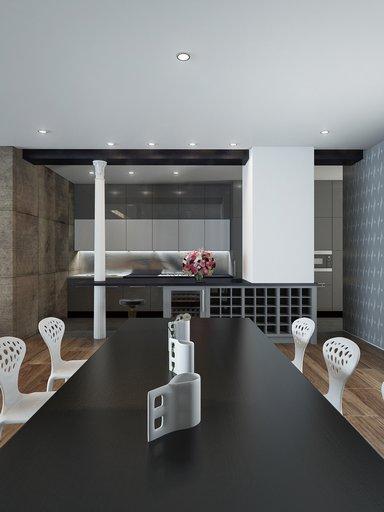 صحنه خانه کامل نشیمن پذیرایی مبل کوسن تابلو مدرن میز غذا خوری فرش پرزدار مدل آماده رندر