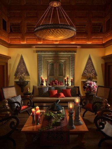 صحنه اتاق نشیمن مبل دکوراسیون ایرانی شمع جاشمعی لوستر میز چوبی مدل آماده رندر