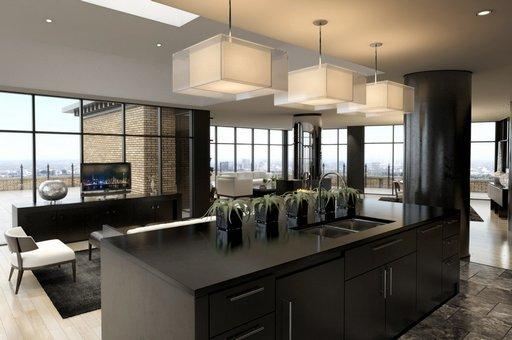 صحنه خانه کامل فضای تلویزیون نشیمن مبل آشپزخانه لوستر صندلی کانتر بالکن تراس سینک گلدان میز ناهارخوری مدل آماده رندر