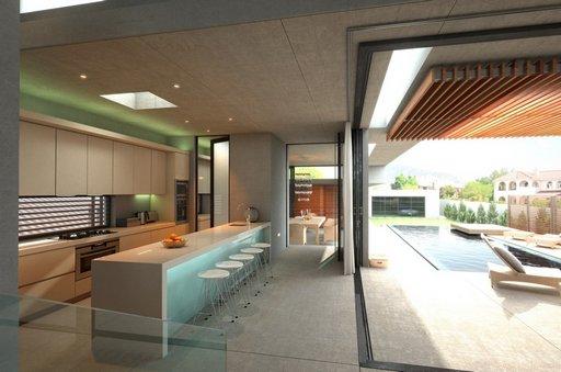 صحنه خانه کامل فضای نشیمن مبل آشپزخانه کابینت صندلی کانتر استخر اتاق تلویزیون مدل آماده رندر