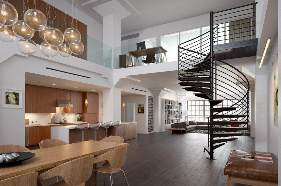 attic room lighting ideas - صحنه خانه کامل منزل پله گرد کف چوب مبل آشپزخانه لوستر