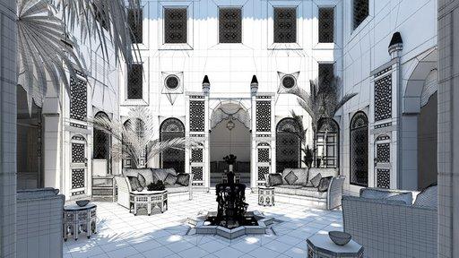 دانلود رندر معماری کلاسیک هتل عربی الجزایر فواره رستوران سنتی معماری اسلامی شرقی عربی اورینتال مدل آماده رندر تری دی مکس وی ری
