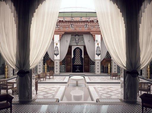 دانلود رندر معماری شرقی رستوران معماری اسلامی شرقی عربی اورینتال مدل آماده رندر تری دی مکس وی ری