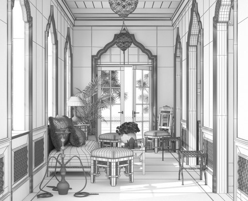 دانلود رندر اتاق پذیرایی کلاسیک معماری شرقی عربی معماری اسلامی مدل آماده رندر تری دی مکس وی ری