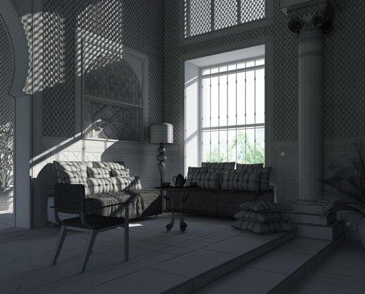 دانلود رندر اتاق نشیمن کلاسیک معماری عربی شرقی معماری اسلامی مدل آماده رندر تری دی مکس وی ری
