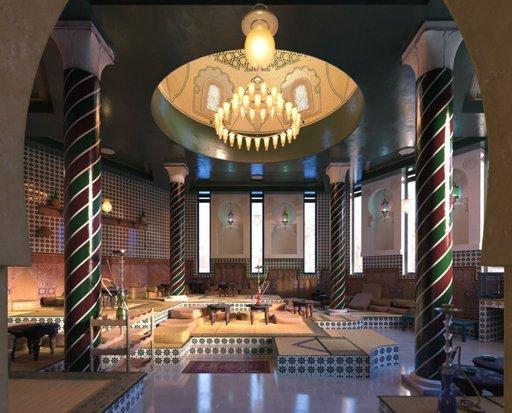 دانلود رندر رستوران کلاسیک معماری شرقی عربی معماری اسلامی مدل آماده رندر تری دی مکس وی ری