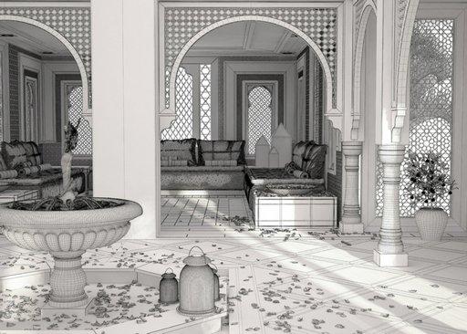 دانلود رندر رستوران عربی فواره معماری اسلامی شرقی عربی اورینتال مدل آماده رندر تری دی مکس وی ری