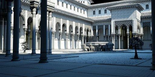 دانلود رندر بنا ساختمان معماری شرقی عربی آثار باستانی مدل آماده رندر تری دی مکس وی ری