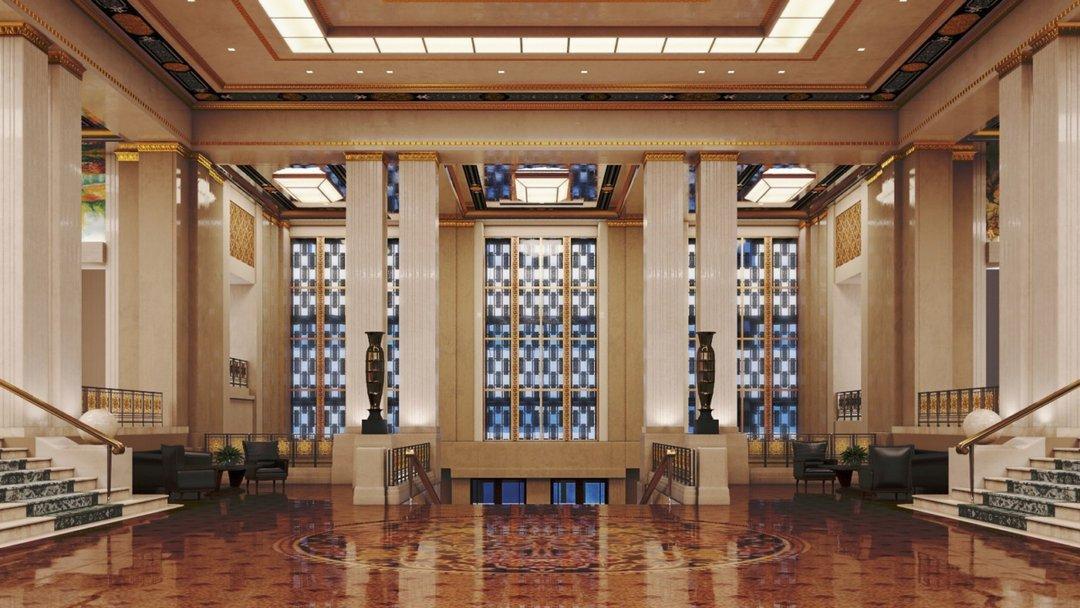 صحنه هتل لابی مجلل پله مدل آماده رندر