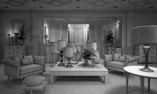 صحنه اتاق نشیمن پذیرایی کلاسیک استیل آباژور مبل گل دسته گل مدل آماده رندر