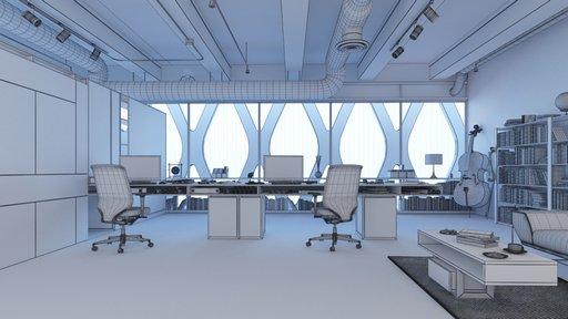 دانلود رندر آفیس اتاق کار مدرن اتاق مدیر کتابخانه مدل آماده رندر تری دی مکس وی ری