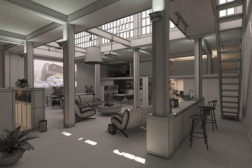 دانلود رندر دفترکار مدرن اتاق جلسات اتاق کار آشپزخانه کتابخانه لوستر مدل آماده رندر تری دی مکس وی ری