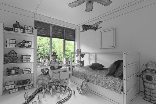 دانلود رندر اتاق خواب بچه اسباب بازی بچه تخت خواب بچه مدل آماده رندر تری دی مکس وی ری