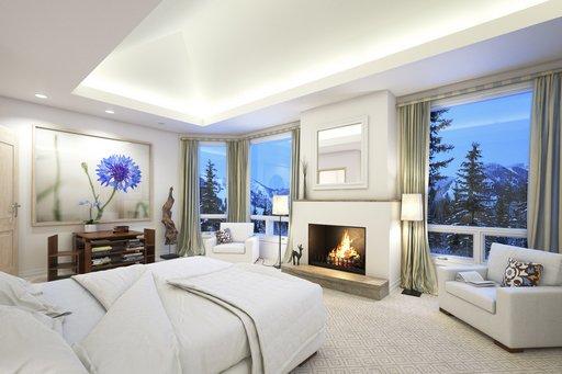 دانلود رندر اتاق خواب هتل شومینه آباژور تخت خواب پرده مبل مدل آماده رندر تری دی مکس وی ری