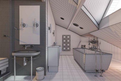 دانلود رندر دستشویی حمام روشویی پارکت چوب مدل آماده رندر تری دی مکس وی ری