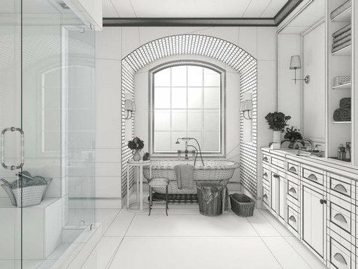 دانلود رندر حمام کلاسیک دستشویی روشویی مدل آماده رندر تری دی مکس وی ری