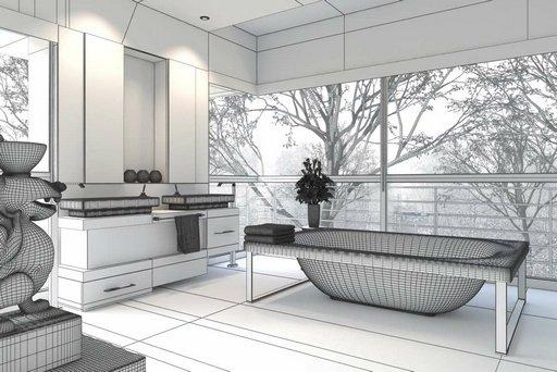 دانلود رندر حمام دستشویی وان حمام مدرن مدل آماده رندر تری دی مکس وی ری