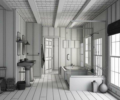 دانلود رندر دستشویی کلاسیک چوب حمام روشویی مدل آماده رندر تری دی مکس وی ری