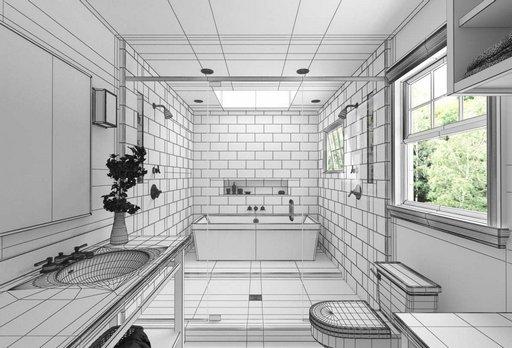 دانلود رندر حمام دستشویی مدرن وان روشویی مدل آماده رندر تری دی مکس وی ری