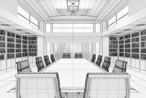 دانلود رندر اتاق جلسه آفیس میز چوب کتابخانه مدل آماده رندر تری دی مکس وی ری