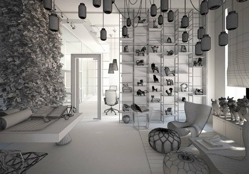 دانلود رندر فروشگاه بوتیک لوازم دکوری مجسمه کافی شاپ مدرن مدل آماده رندر تری دی مکس وی ری