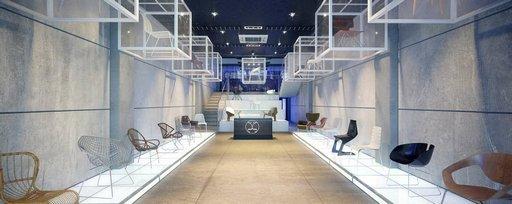 دانلود رندر گالری نمایشگاه فروشگاه مدرن ویترین صندلی مدرن مدل آماده رندر تری دی مکس وی ری