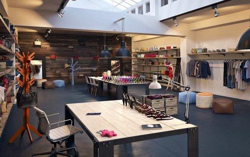 دانلود رندر بوتیک فروشگاه لباس کفش کیف مدل آماده رندر تری دی مکس وی ری